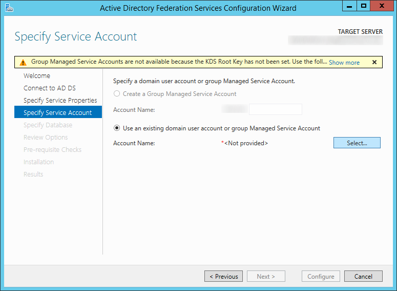 Active Directory Federation Services Configuration Wizard - Specify Service Properties - Use an existing domain user account or group Management Service Account