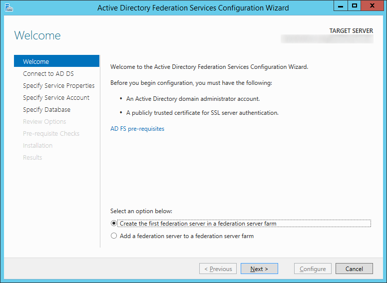 Active Directory Federation Services Configuration Wizard - Welcome