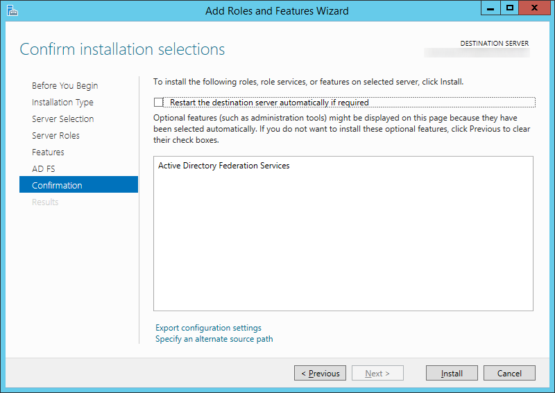 Add Roles and Features Wizard - Confirmation - Active Directory Federation Services