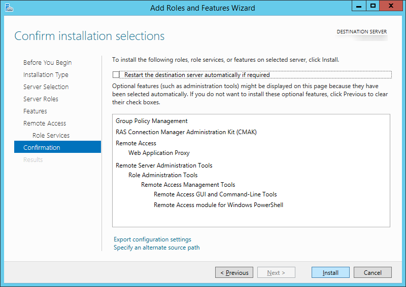 Add Roles and Features Wizard - Confirmation - Web Application Proxy