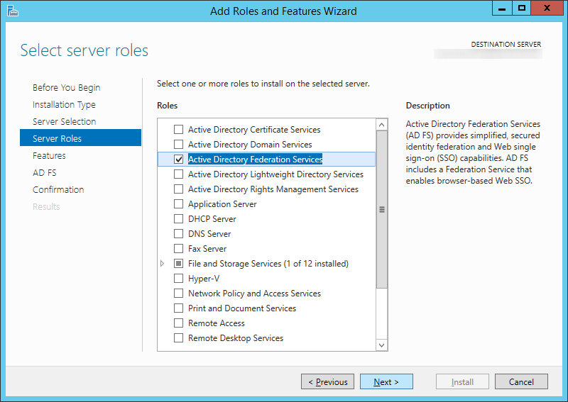 Add Roles and Features Wizard - Server Roles - Active Directory Federation Services