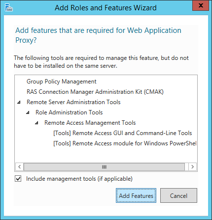 Add Roles and Features Wizard - Web Application Proxy