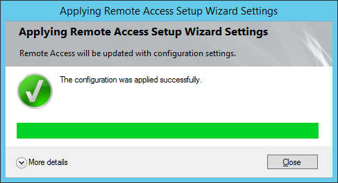 Apply Remote Access Setup Wizard Settings - The configuration was applied successfully