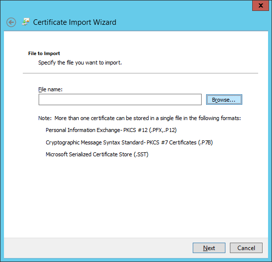 Certificate Import Wizard - Browse