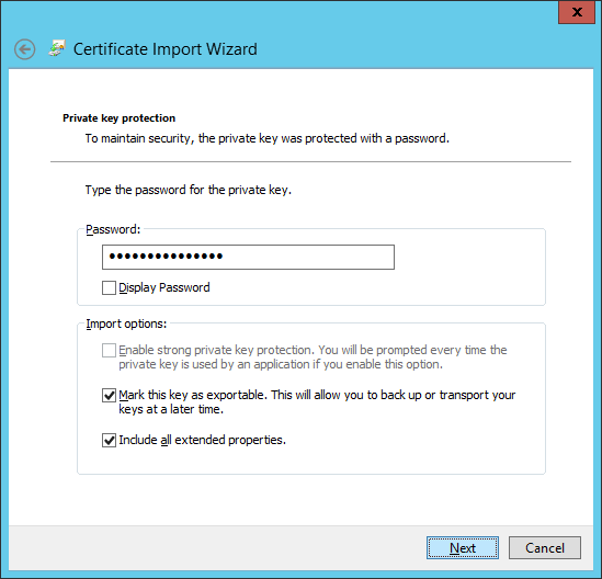Certificate Import Wizard - Private key protection