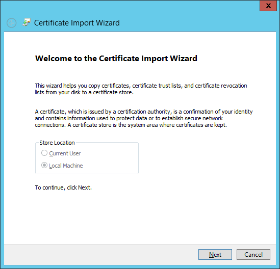 Certificate Import Wizard - Welcome