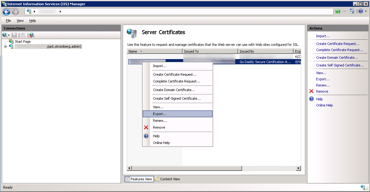 Internet Information Services IIS Manager - Export Certificate