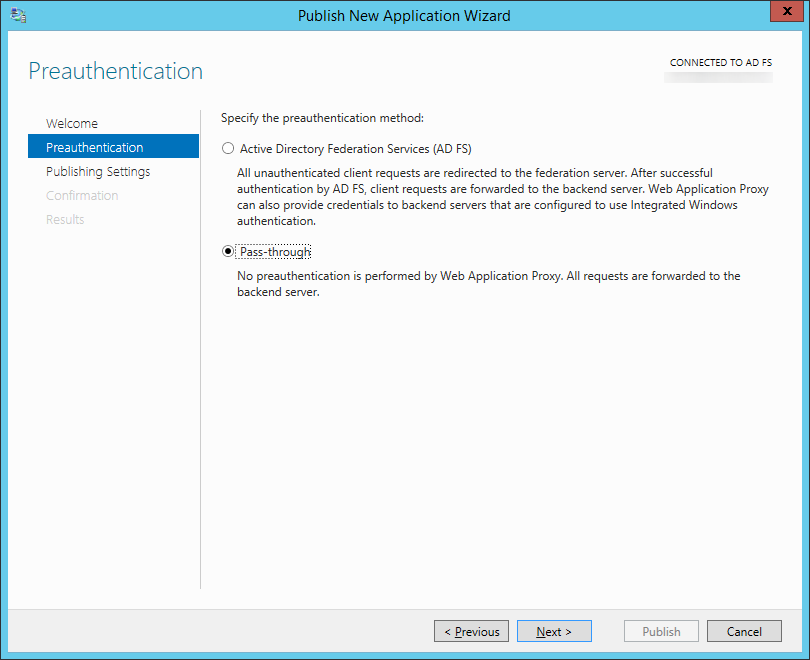 Publish New Application Wizard - Preauthentication