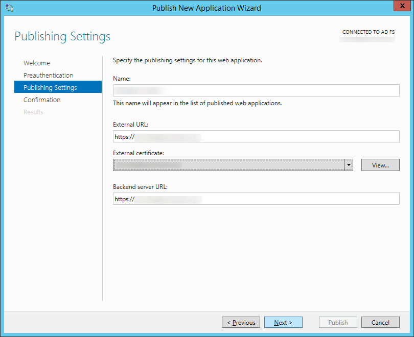 Publish New Application Wizard - Publishing Settings