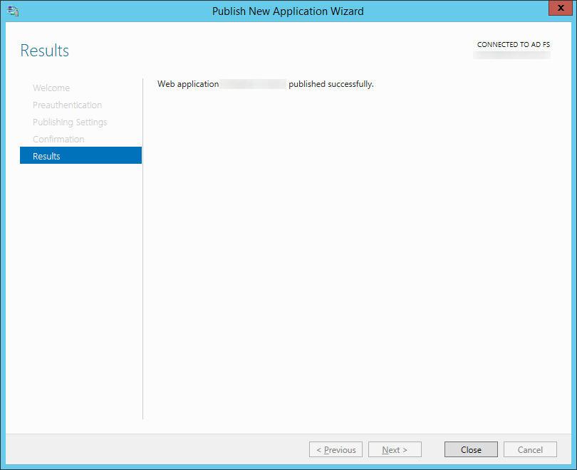 Publish New Application Wizard - Results