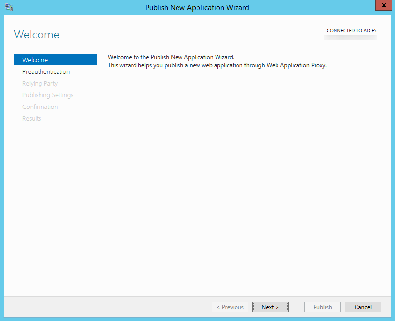 Publish New Application Wizard - Welcome