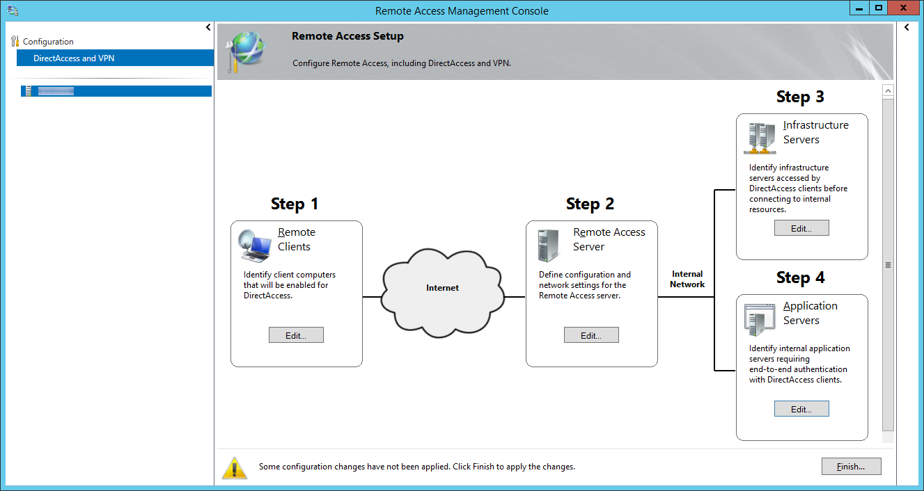 Remote Access Management Console - Finish