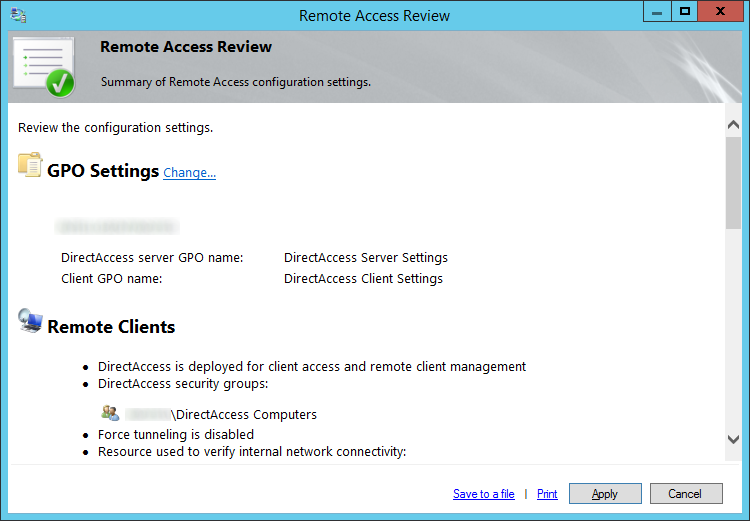 Remote Access Review - Summary of Remote Access configuration settings