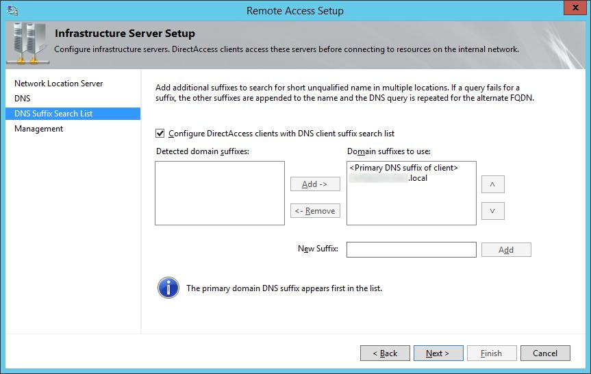 Remote Access Setup - DNS Suffix Search List