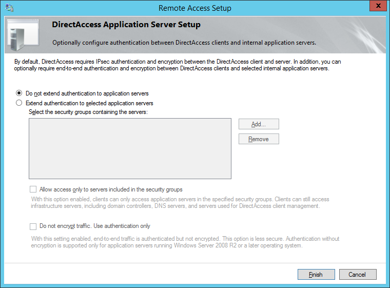 Remote Access Setup - Do not extend authentication to application servers
