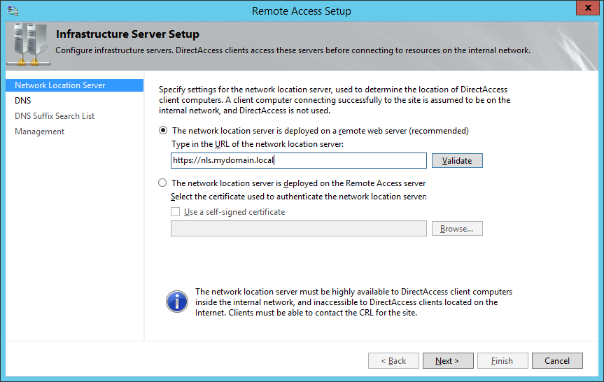 Remote Access Setup - Network Location Server