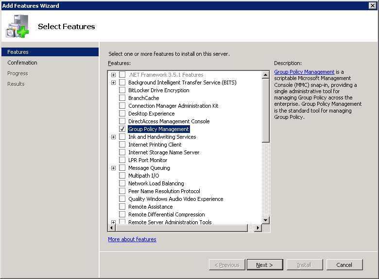 Server 2008 R2 - Add Features Wizard - Group Policy Management