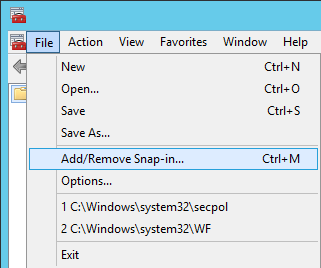 Server 2012 - mmc - Add Remove Snap-In