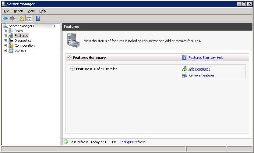 Server Manager 2008 R2 - Add Features