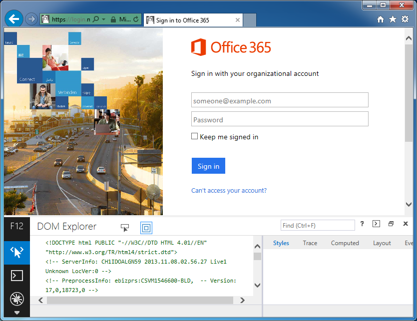 Sign into Office 365 - Developer Console