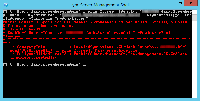 Specified SIP domain is not valid - lync server management shell