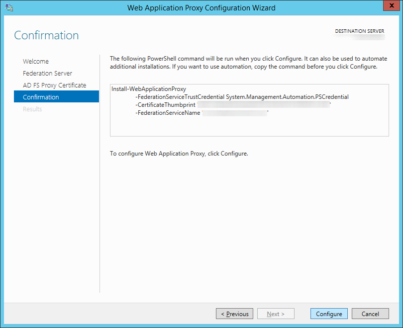 Web Application Proxy Configuration Wizard - Confirmation
