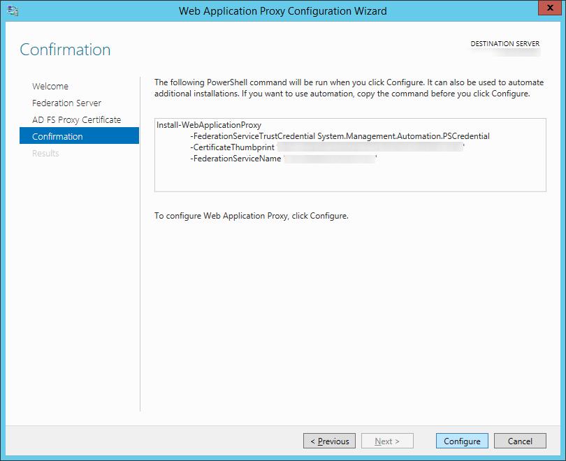 Web Application Proxy Configuration Wizard - Confirmation