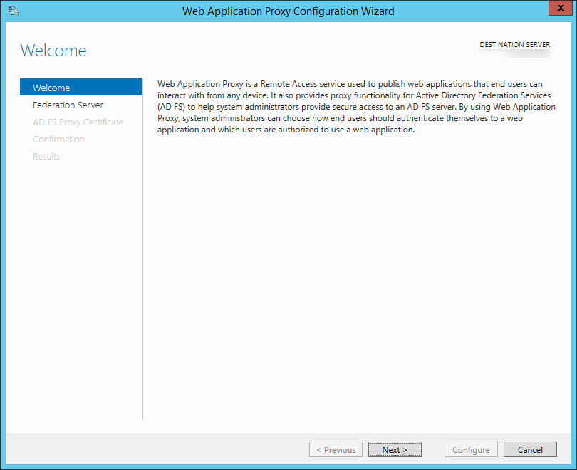 Web Application Proxy Configuration Wizard - Welcome