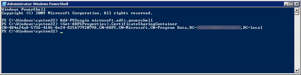 get-adfsproperties certificatesharingcontainer