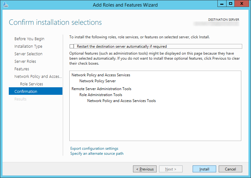 Add Roles and Features Wizard - Network Policy and Access Services - Confirmation