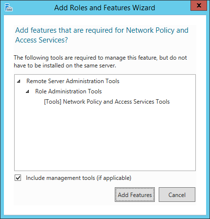 Add Roles and Features Wizard - Network Policy and Access Services