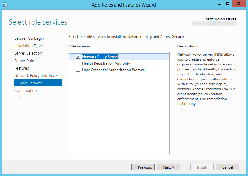 Add Roles and Features Wizard - Role Services - Network Policy Server