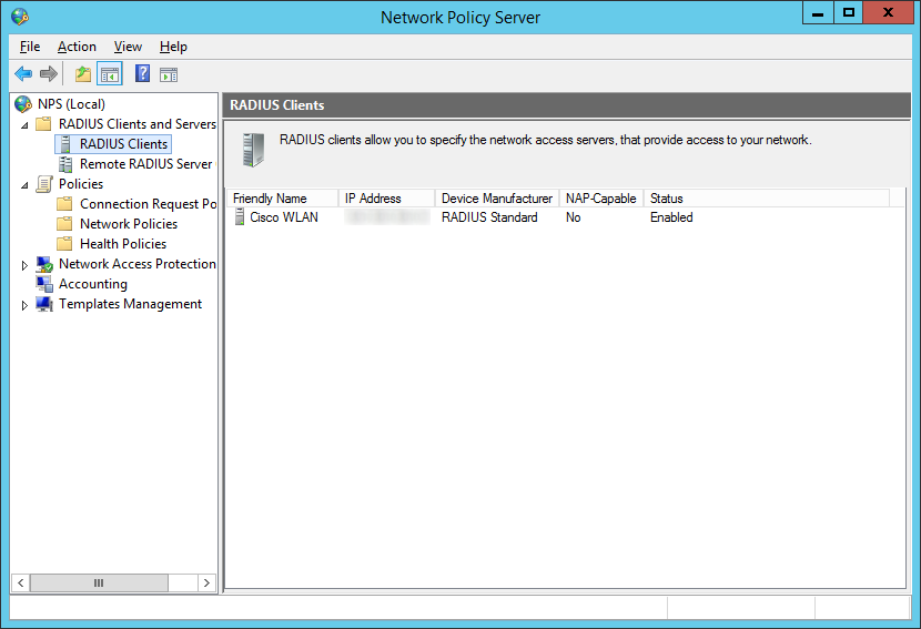 Network Policy Server - RADIUS Clients