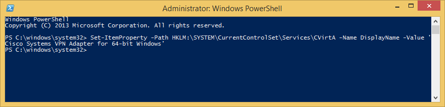 PowerShell - Set CVirtA DisplayName - Cisco VPN