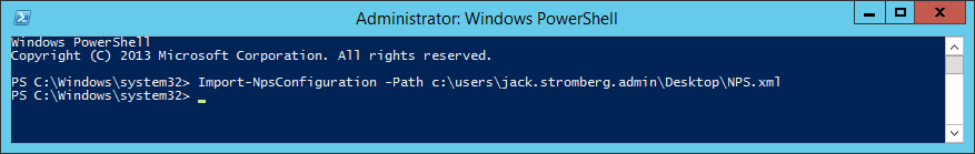 Server 2012 R2 - Powershell - Import-npsconfiguration