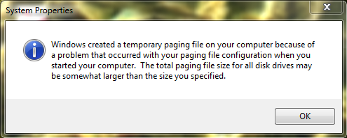 Windows 7 Error - a problem occured with your paging file configuration