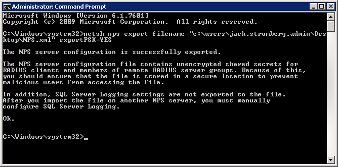 netsh nps export