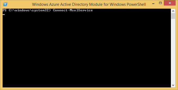 Windows Azure Active Directory Module for Windows PowerShell - Connect-MsolService