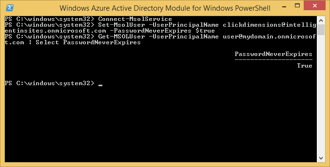 Windows Azure Active Directory Module for Windows PowerShell - Get-MsolUser PasswordNeverExpires
