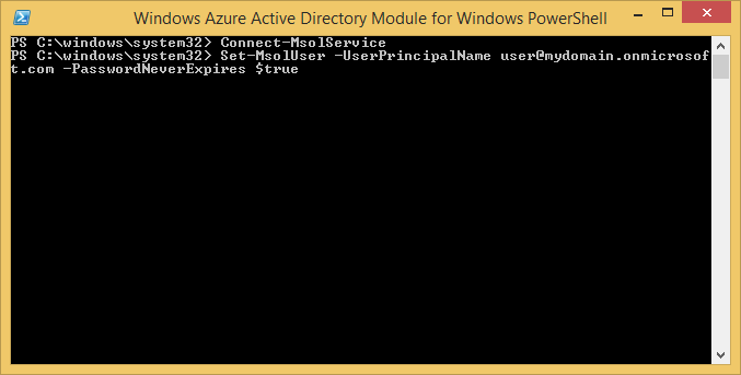 Windows Azure Active Directory Module for Windows PowerShell - Set-MsolUser PasswordNeverExpires
