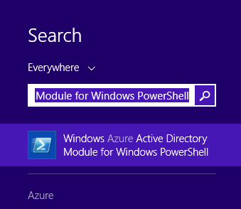 Windows Azure Active Directory Module for Windows PowerShell - Windows 8