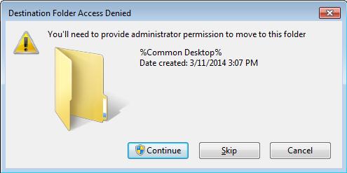 Destination Folder Access Denied - Common Desktop - Thinapp
