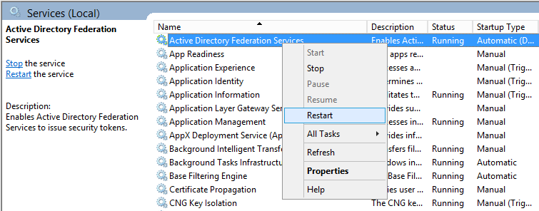 Restart Active Directory Federation Services - Restart