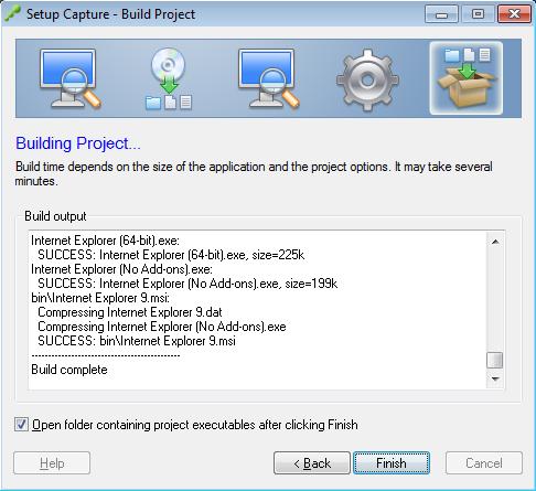 Setup Capture - Build Project - Finish