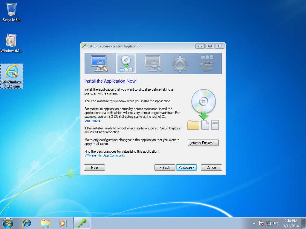 Setup Capture - Install Application IE9