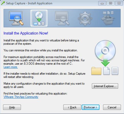 Setup Capture - Install Application - Postscan