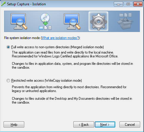 Setup Capture - Isolation - Full write access to non-system directories