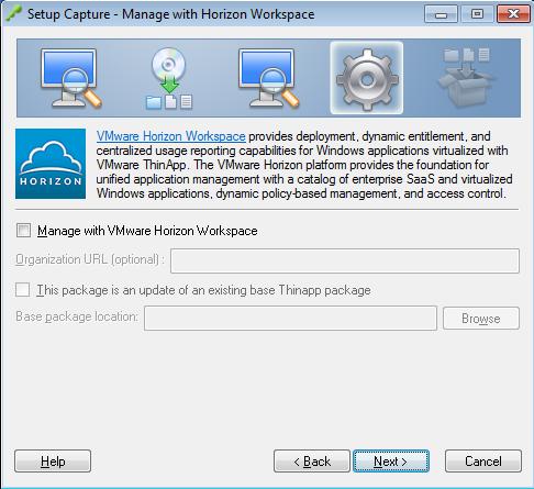 Setup Capture - Manage with Horizon Workspace