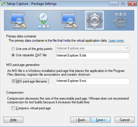 Setup Capture - Package Settings - Internet Explorer 9