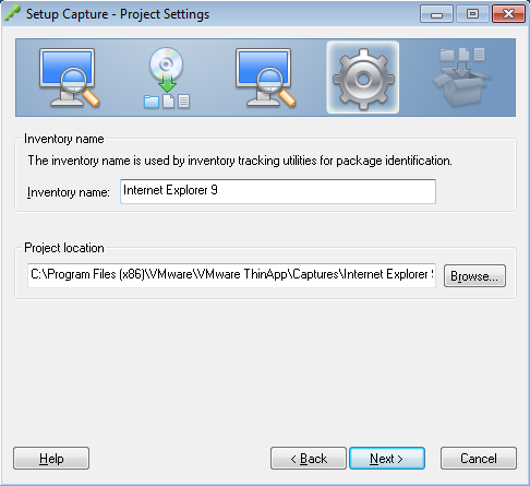 Setup Capture - Project Settings - Internet Explorer 9